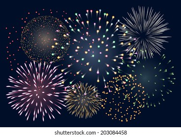 Background with colorful fireworks, EPS 10 contains transparency