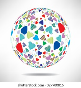 Background of colorful hearts in the shape of a ball