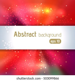 Background with colorful light rays.  Abstract background. Vector illustration. Red, pink, orange colors.