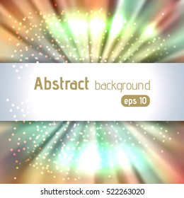 Background with colorful light rays. Abstract background.  Vector illustration. Beige, green, white colors.