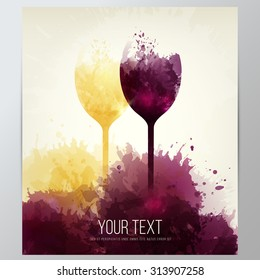 Background with colorful spots and wine. Illustration wine glasses. Expressive design background. vector