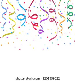 Background with colorful streamers and confetti for holiday design. Vector illustration