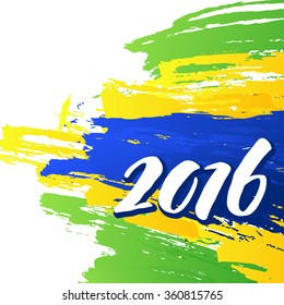 Background colors of the Brazilian flag with the inscription 2016. Vector illustration EPS10