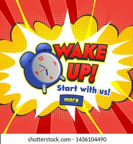 Background with Comic Alarm Clock Ringing and Expression Speech Bubble with Wake Up Text. Vector Bright Dynamic Cartoon Illustration in Hand Drawn Retro Comic Book Pop Art Style on Halftone Background