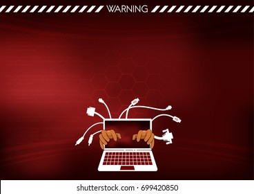 background computer virus warning hacker attract system down