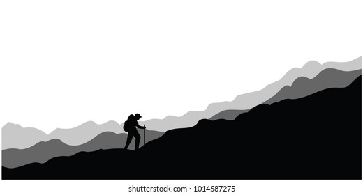background with the concept of mountains and climbers