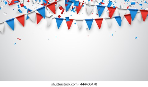Background with confetti and garland of flags. Vector illustration.