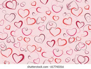 Background of contour hearts pastel color