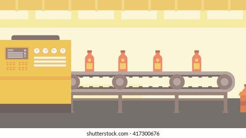 Background of conveyor belt with bottles.