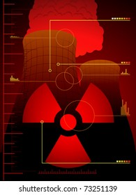 Background of cooling towers and gauges illustrating a radiation leak
