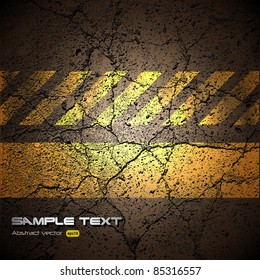 background with cracked road texture, vector.