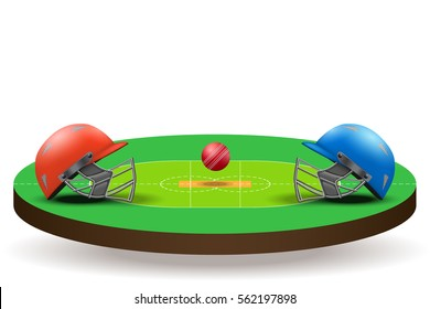 Background of Cricket teams competition. Helmets on field with ball. Vector illustration Isolated on background.