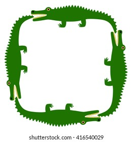 Background of the crocodile. Decorative pattern. White field and green crocodiles. Vector Image.