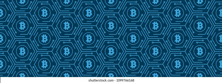 Background of cryptocurrency bitcoin.Seamless pattern of bitcoin.Mining or blockchain technology for cryptocurrency concept.Vector illustration EPS10