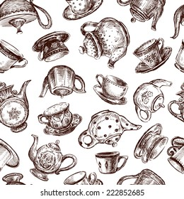 background with cups and teapots