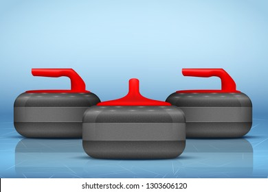 Background Curling stones on ice field . Equipment for teams sport game. Vector Illustration.