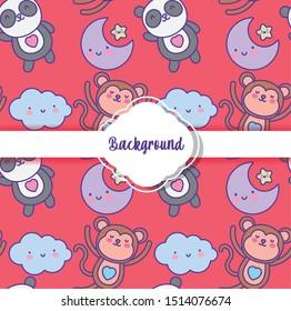background cute animals decoration flat layout