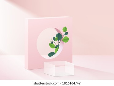 Background cylinder glass minimal scene with leaf vector glass platform. Background vector 3d rendering podium. stand to show cosmetic product. Stage floor pedestal modern 3d studio pink pastel vector
