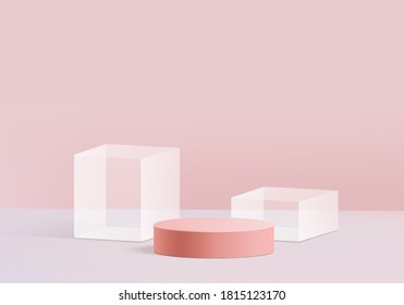 Background Cylinder minimal scene with glass geometric platform. Background vector 3d rendering crystal podium. stand to show cosmetic products. Stage Showcase on pedestal modern 3d studio pink pastel