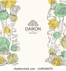 Background with daikon: root and a piece of daikon. Chinese radish. Vector hand drawn illustration.