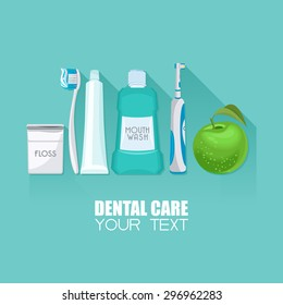 Background with dental care symbols: tooth brush, tooth paste, dental floss, apple