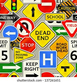 A background depicting various types of road signs. Eps 10 Vector.