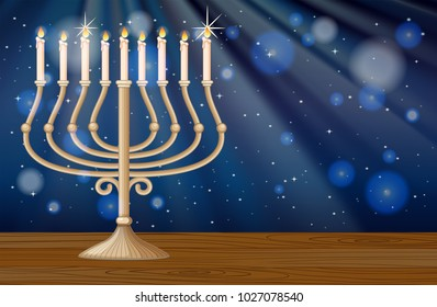 Background design with candlelights at night illustration