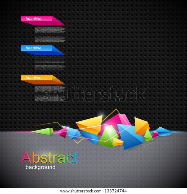 Background for design with colored geometric abstraction of the triangles