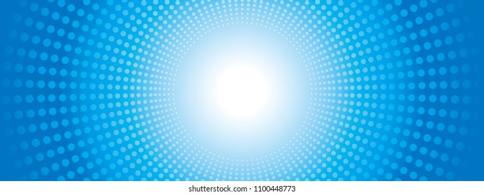 Background design of concentration line represented by dot |blue