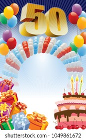 Background with design elements and the birthday cake. The poster or invitation for fiftieth birthday or anniversary.