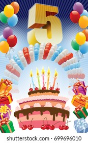 Background with design elements and the birthday cake. The poster or invitation for fifth birthday or anniversary.
