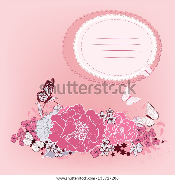 background for the design of flowers. Vector illustration. Painted hands.