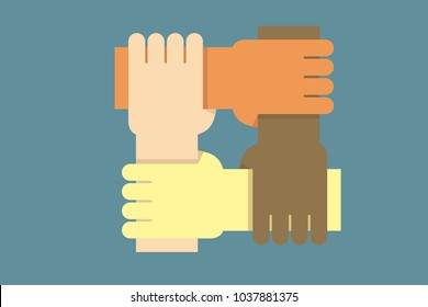 Background design with hands from people of different ethnicities together as one. Vector illustration for concepts of community, equal rights, community, charity work and teamwork success