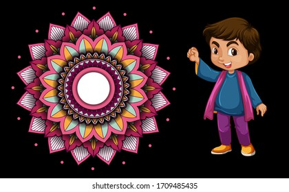 Background design with happy kids and mandala patterns illustration