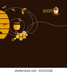 Background design with honey and bee objects.