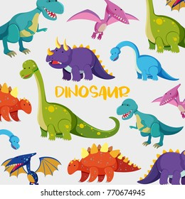 Background design with many cute dinosaurs illustration