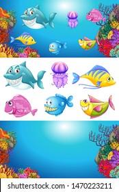 Background design with many sea animals illustration