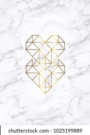 Background design with marble texture and geometric heart symbol vector illustration.