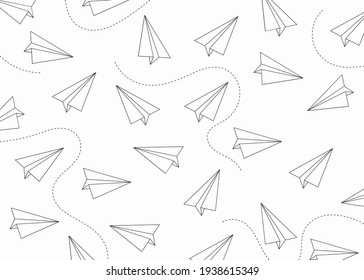 background design with paper airplane pattern