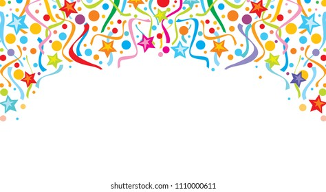 background design with party streamers  and confetti (festive design, celebration background)