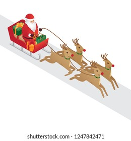Background for design, sled, Santa Claus, deer, gifts. christmas background