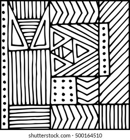 Background with different geometric shapes. Hand drawn illustration.