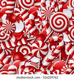 Background with different red and white candies. Seamless pattern. Vector illustration