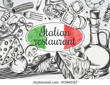 Background with different types of authentic Italian pasta and products for cooking pasta. Menu or signboard template for restaurant.  Hand drawn Vector illustration in vintage style.