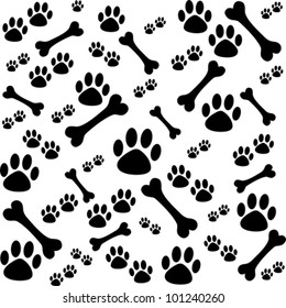 Background with dog paw print and bone.  Vector Illustration