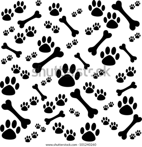 0b6e89c39580 Background Dog Paw Print Bone Vector Stock Vector (Royalty Free ...