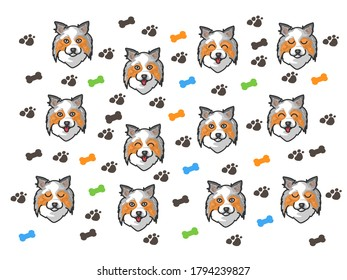 Background of the dogs for Shirt pattern and Vector background pattern.   Glass or handkerchief pattern