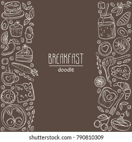 Background with doodles breakfast icons. Vector hand drawn illustration.