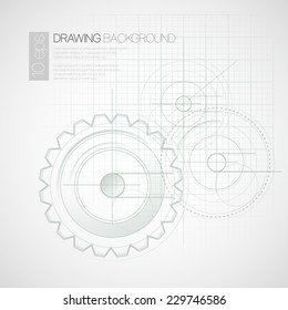 Background with drawing gears. Vector illustration