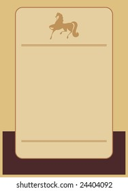 Background drawn in classical style. In the illustration centre a vertical rectangle. On a rectangle the silhouette of a horse is located.
